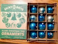 "Vintage Glass Christmas Ornaments Balls Set 12 Lot Blue 2"" USA Shiny Brite Box"