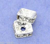 20 Neu Versilbert Strass Quadrat Spacer Perlen Beads 6x6mm