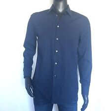 Emporio Armani Mens Dress Shirt Size 40 Regular Fit Navy Blue Button Up 15 3/4
