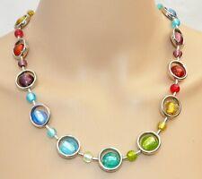 Halskette Rahmen silber Perlen Lampwork Silberfolie Scheibe bunt mehrfarbig 295d