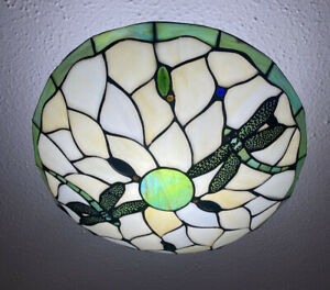 Tiffany Style Stained Glass Green Dragonfly Uplighter Lamp Light Shade Retro