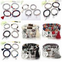 4Pcs Bodhi Wing Tassel Layer Natural Stone Boho Bangle Bead Bracelet Jewelry New
