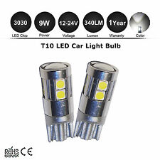 2X 9w T10 194 W5W 3030-SMD 9 LED Car Side Wedge Light Bulb 12V 24V Interior Lamp