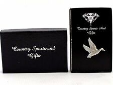 Rising Mallard Duck Finest English Pewter Lapel Pin Badge - Hand Made - Gift Box