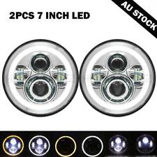 "Pair Round 7""inch LED Headlight DRL Light chrome for Land Rover 90 110 Defender"