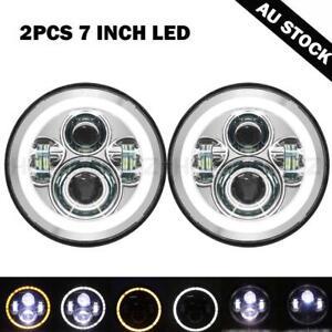 "2X Round 7""inch LED Headlight DRL Light chrome for 88-99 Nissan Patrol GQ Patrol"