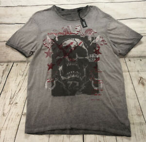 NWT Buffalo David Bitton Mens Large Heather Grey Topsicle Skull T-Shirt
