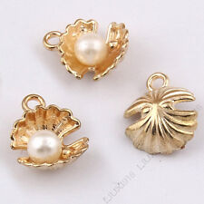 Gold Plated Sea shell Charms Imitation pearl Pendant Beads Jewelry Making /1035