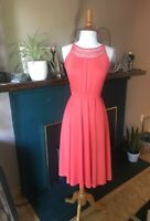 Women's Vintage Salmon pink dress with crocheted bodice small Boho