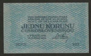 1919 CZECHOSLOVAKIA 1 KORUNA NOTE