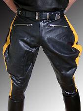 Lederhose Männer schwarz Stiefelhose Leder BREECHES Lederuniform Lederbreeches