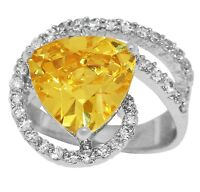 Women's 925 Silver Yellow Topaz CZ Cocktail Ring with Cz Stones Accent