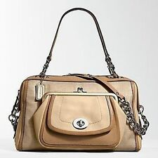 NEW Coach Bonnie Natural Straw Ashley Beige Leather LG Handbag Tote Bag Satchel