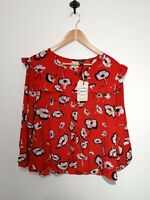 Joanie Clothing Uk 18 Laverne Blouse High Risk Red Frill Detail 3/4 Sleeve NWT