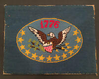 """Vintage 1776 Eagle Needlepoint Patriotic Completed Finished Wool 12""""x16"""""""