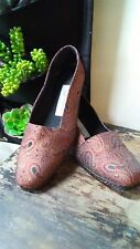 Vtg Embroidered Evan Picone Low Wedge Flats Paisley Womens 8 1/2 M Made in Spain