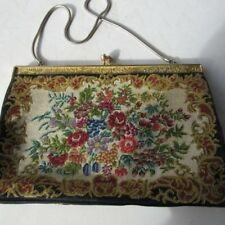 Vintage Purse Floral Fabric and Metal