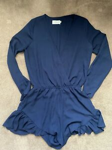 Lioness Navy Long Sleeve Playsuit Size 8