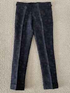 Mens Sliml Skinny Pants Floral Printed Mid Rise Nightclub Trouser Stretch hamk