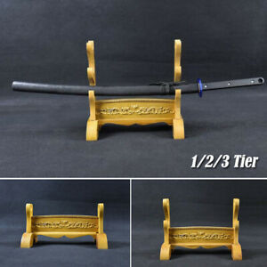 Wood Japanese Samurai Sword Katana Tanto Holder Stand Dragon Assembly Sword Rack