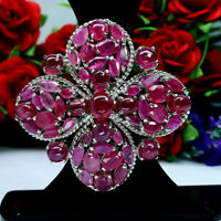 NATURAL BIG! PINK RED RUBY BROOCH / PENDNAT 925 STERLING SILVER
