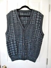 MEN'S sz. L/XL BLUE GREEN ARGYLE HOUNDSTOOTH CHEVRON WEAVE VEST BUTTON FRONT