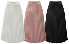 Ladies High Waist Elastic Waist Band Nieve Pleated Casual Midi Skirt