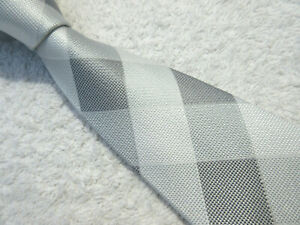 WHITE GREY CHECK PADDED 3.75 inch tie polyester necktie by NEXT