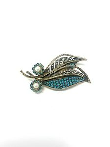 Art Deco Style Vintage Sterling Silver Turquoise Pearl Marcasite Brooch 12g #378