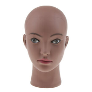 Bald Black Female Mannequin Head with Mount Hole for Wigs Display Professional