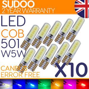 10x T10 Led 501 w5w Side Light White Bulbs Car Error Free Canbus Xenon Sidelight