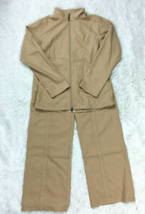 Patagonia L Jacket + Pants 2 Piece Set Tan Outdoor Zip Up Windbreaker Womens L