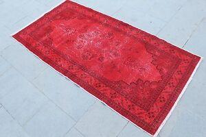 """Vintage Handmade Turkish Anatolian Oushak Overdyed Red Kitchen Rug 72""""x37"""""""