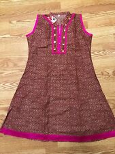KURTI Kurta Kameez INDIA-NEW-XXL-COTTON-BROWN PINK FLORAL EMBROIDERY-USA SELLER