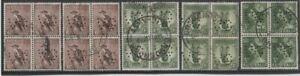Stamps Australia various with perfin VG blocks of 4 Kookaburra Lyrebird, QE2