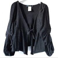 Anthropologie Women's Cartonnier Dark Gray Wool Pleated Sleeve Cardigan Medium