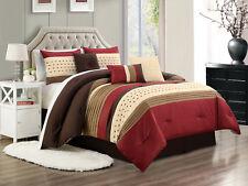 7 Jasper Pleated Embossed Square Comforter Set Burgundy Ivory Coffee Brown Queen