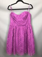 Debut Debenhams Size 14 Magenta Lace Overlay Bandeau A Line Party Dress