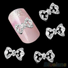 10Pcs 3D Glitter Rhinestone Hollow Bowknot DIY Decoration Nail Art Tips Hot GRA7