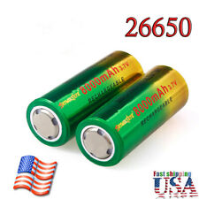 26650 Battery Flat Top Li-ion 3.7V Rechargeable Batteries Bat