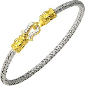 "Charles Garnier ""Gondi"" Yellow Sterling Silver Bangle Bracelet Created Corundum"