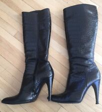PRADA ITALY STILETTO CALZATURE DONNA BlACK GATOR PATTERN LEATHER TALL BOOTS 37