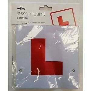 Learner plates Wilko Lesson Learnt Self Adhesive or Tie-On Front & Rear L-Plates