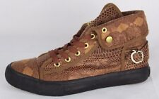 Apple Bottoms women��s Electra snake sneakers brown gold hit top fabric size 8