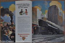 1946 PENNSYLVANIA RR 2-page advertisement, Pennsy T1 4-4-4-4 5505 artwork