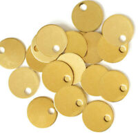 """Smooth Edge 19 Gauge Tags 16mm or 5//8/"""" MT183 20 Brass Stamping Round Disc"""