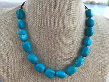 HDMD by Cyndi Necklace of Turquoise Rectangular Nuggets & Bronze Metallic Glass