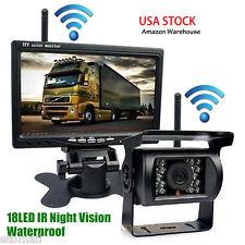 "7"" LCD Monitor Rear View Kit +Bus Truck Trailer Car Wireless IR Reversing Camera"