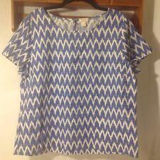 J.Crew Women's Top Size L Linen Cotton Chrevon ikat Printed Short Sleeve Blue