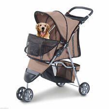Folding Dog Pet Stroller 3 Wheels Carrier with Brake and Canopy Coffee